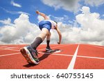 feet runner on start line ready ... | Shutterstock . vector #640755145