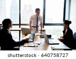 businesspeople with leader... | Shutterstock . vector #640758727