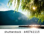 river  mountains and dock with... | Shutterstock . vector #640761115