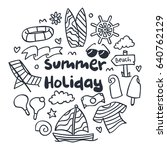 summer icon in cute doodle style | Shutterstock .eps vector #640762129