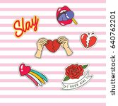 set of cute fashion patches... | Shutterstock .eps vector #640762201