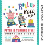 kids birthday party invitation... | Shutterstock .eps vector #640763425