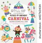 kids birthday party invitation... | Shutterstock .eps vector #640763434
