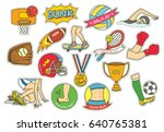 set of cartoon sport themed... | Shutterstock .eps vector #640765381