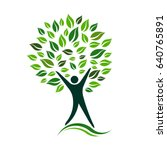 green person tree vector icon... | Shutterstock .eps vector #640765891