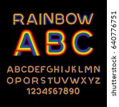 rainbow font. lgbt letters. abc ...   Shutterstock .eps vector #640776751