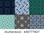 set of 6 seamless geometric... | Shutterstock .eps vector #640777837
