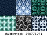 set of 6 seamless vector... | Shutterstock .eps vector #640778071