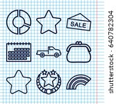 set of 9 trendy outline icons...
