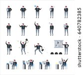 office man in various poses.... | Shutterstock .eps vector #640782385