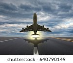 plane taking off from airport... | Shutterstock . vector #640790149