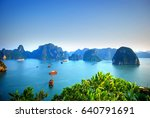 tranquility on ha long bay... | Shutterstock . vector #640791691