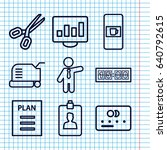 set of 9 business outline icons ... | Shutterstock .eps vector #640792615