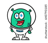 cartoon alien in space suit... | Shutterstock .eps vector #640793185