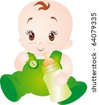 a baby eating milk from the... | Shutterstock .eps vector #64079335
