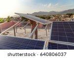 solar panel installation in... | Shutterstock . vector #640806037