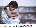 cute asian little girl closed... | Shutterstock . vector #640806817