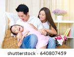 asian family enjoyed family... | Shutterstock . vector #640807459