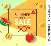 summer sale orange fruit and... | Shutterstock .eps vector #640815109