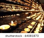 Votive Church Candles In Rows