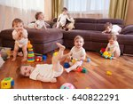 child scattered toys. mess in... | Shutterstock . vector #640822291