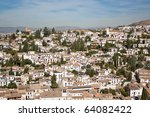 Picturesque Albaycin quarter viewed from the Alhambra in Granada, Spain. - stock photo