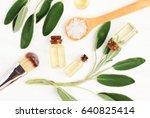sage essential oil  salvia... | Shutterstock . vector #640825414