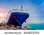 carrier ship under repair in...   Shutterstock . vector #640825591