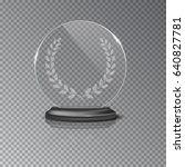 glass winner podium plate with... | Shutterstock .eps vector #640827781