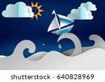 paper cut art of boat sailing... | Shutterstock .eps vector #640828969
