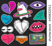 set of decorative fashion... | Shutterstock .eps vector #640832011