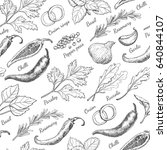 seamless pattern with herbs and ...   Shutterstock .eps vector #640844107