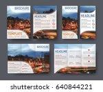 triple brochure template  flyer ... | Shutterstock .eps vector #640844221