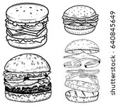 set of burger illustrations.... | Shutterstock .eps vector #640845649