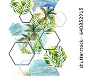 watercolor tropical leaves and... | Shutterstock . vector #640852915