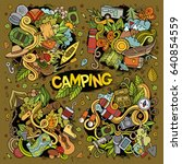 camping doodles nature hand... | Shutterstock .eps vector #640854559