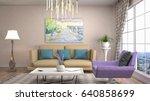 interior living room. 3d... | Shutterstock . vector #640858699