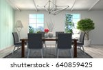 interior dining area. 3d... | Shutterstock . vector #640859425