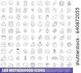 100 motherhood icons set in... | Shutterstock .eps vector #640872055