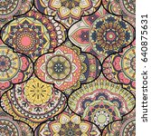colorful tiles boho seamless... | Shutterstock .eps vector #640875631