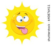 crazy yellow sun cartoon emoji... | Shutterstock . vector #640876411