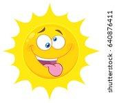 crazy yellow sun cartoon emoji... | Shutterstock . vector #640876411