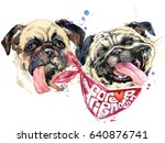 Stock photo cute dog funny puppy watercolor illustration 640876741