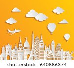 travel and tourism background.... | Shutterstock .eps vector #640886374