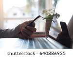 young man using mobile smart... | Shutterstock . vector #640886935