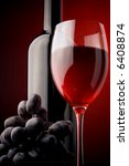 red wine glass bottle details grape - stock photo