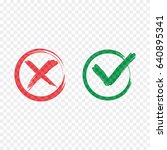 tick and cross brush signs.... | Shutterstock .eps vector #640895341
