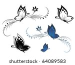 Stock vector butterflies with a flower pattern 64089583