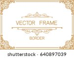 gold photo frame with corner... | Shutterstock .eps vector #640897039