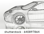 3d sport car vehicle blueprint... | Shutterstock . vector #640897864